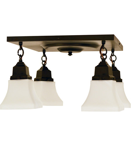 Arroyo Craftsman RCM-4-S Ruskin 4 Light 16 inch Slate Flush Mount Ceiling Light, Glass Sold Separately