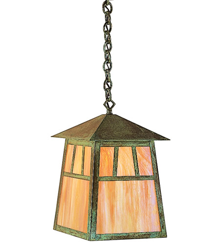 Arroyo Craftsman RH-10WO-MB Raymond 1 Light 10 inch Mission Brown Pendant Ceiling Light in White Opalescent
