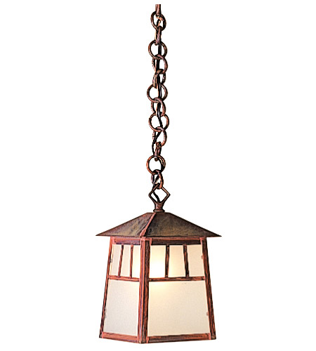 Arroyo Craftsman RH-6GW-MB Raymond 1 Light 5 inch Mission Brown Pendant Ceiling Light in Gold White Iridescent