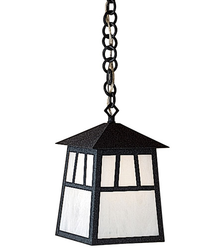 Arroyo Craftsman RH-8M-RB Raymond 1 Light 8 inch Rustic Brown Pendant Ceiling Light in Amber Mica