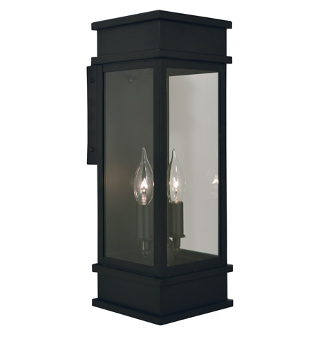 Arroyo Craftsman ROW-6LCLR-BK Rochester 2 Light 17 inch Satin Black Outdoor Wall Mount in Clear