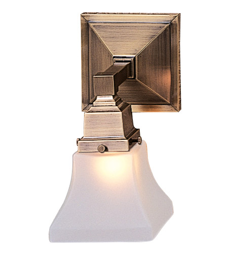 Arroyo Craftsman RS-1-AB Ruskin 1 Light 5 inch Antique Brass Wall Mount Wall Light, Glass Sold Separately
