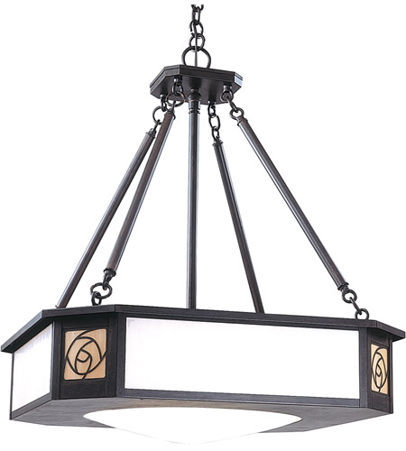 Arroyo Craftsman SCCH-21GWC-BZ Saint Clair 4 Light 22 inch Bronze Pendant Ceiling Light in Gold White Iridescent and White Opalescent Combination