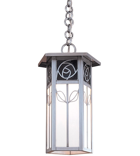 Arroyo Craftsman SCH-12REC-MB Saint Clair 1 Light 8 inch Mission Brown Pendant Ceiling Light in Red and White Opalescent Combination
