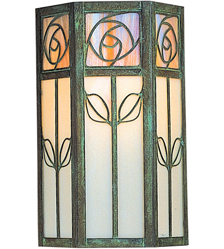 Arroyo Craftsman SCW-12WO-VP Saint Clair 1 Light 12 inch Verdigris Patina Outdoor Wall Mount in White Opalescent