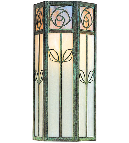 Arroyo Craftsman SCW-16GWC-BZ Saint Clair 1 Light 16 inch Bronze Outdoor Wall Mount in Gold White Iridescent and White Opalescent Combination