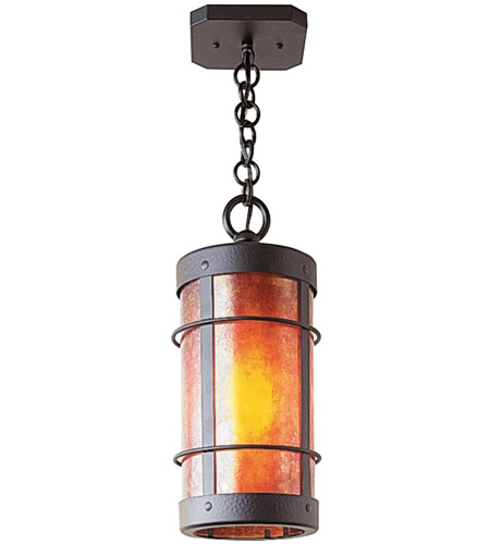Arroyo Craftsman VH-9NRM-AC Valencia 1 Light 6 inch Antique Copper Pendant Ceiling Light in Amber Mica