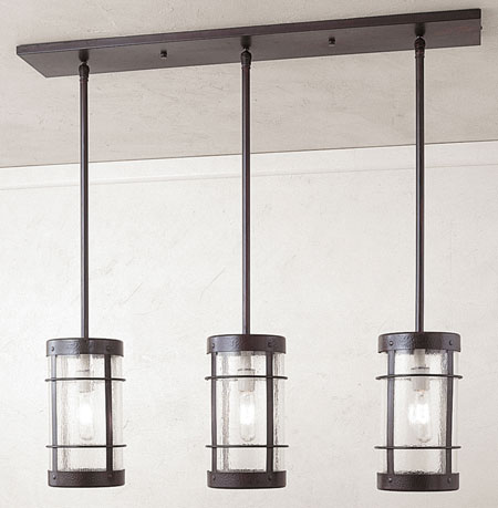 Arroyo Craftsman VICH-9NR/3CS-BZ Valencia 3 Light 36 inch Bronze Pendant Ceiling Light in Clear Seedy
