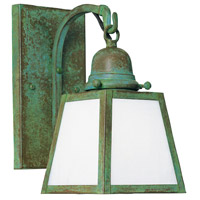 Arroyo Craftsman AB-1EWO-VP A-line 1 Light 5 inch Verdigris Patina Wall Mount Wall Light in White Opalescent