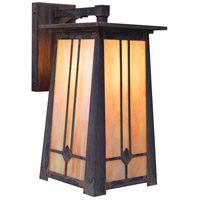 Arroyo Craftsman ABB-9GW-MB Aberdeen 1 Light 17 inch Mission Brown Outdoor Wall Mount in Gold White Iridescent