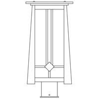 Arroyo Craftsman ABP-9OF-BZ Aberdeen 1 Light 15 inch Bronze Post Mount in Off White photo thumbnail