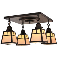 Arroyo Craftsman ACM-4TCR-BZ A-line 4 Light 17 inch Bronze Flush Mount Ceiling Light in Cream