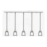 Arroyo Craftsman AICH-5TWO-P A-Line 5 Light 48 inch Pewter Pendant Ceiling Light in White Opalescent alternative photo thumbnail