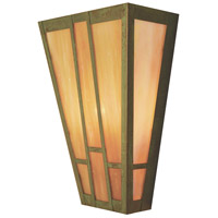 Arroyo Craftsman AS-12GW-VP Asheville 2 Light 12 inch Verdigris Patina Wall Mount Wall Light in Gold White Iridescent