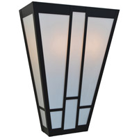 Arroyo Craftsman AS-16WO-BK Asheville 2 Light 16 inch Satin Black Wall Mount Wall Light in White Opalescent