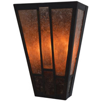 Arroyo Craftsman AS-8MC-BZ Asheville 2 Light 8 inch Bronze ADA Wall Mount Wall Light in Amber Mica and Almond Mica Combination