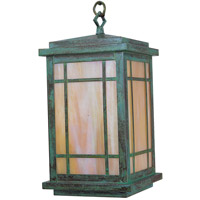 Arroyo Craftsman AVH-8GW-VP Avenue 1 Light 8 inch Verdigris Patina Pendant Ceiling Light in Gold White Iridescent photo thumbnail