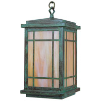 Arroyo Craftsman AVH-8GW-VP Avenue 1 Light 8 inch Verdigris Patina Pendant Ceiling Light in Gold White Iridescent