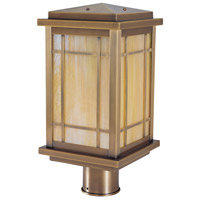 Avenue 1 Light 13 inch Antique Brass Post Mount in Gold White Iridescent