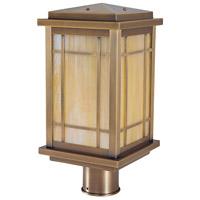 Arroyo Craftsman AVP-8GW-AB Avenue 1 Light 13 inch Antique Brass Post Mount in Gold White Iridescent