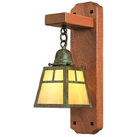 Arroyo Craftsman AWS-1TGW-VP A-Line 1 Light 5 inch Verdigris Patina Wall Mount Wall Light in Gold White Iridescent