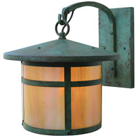 Arroyo Craftsman BB-11GW-VP Berkeley 1 Light 12 inch Verdigris Patina Outdoor Wall Mount in Gold White Iridescent