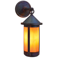 Arroyo Craftsman BB-6LGW-RC Berkeley 1 Light 14 inch Raw Copper Outdoor Wall Mount in Gold White Iridescent