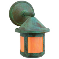 Arroyo Craftsman BB-6SWGW-VP Berkeley 1 Light 10 inch Verdigris Patina Outdoor Wall Mount in Gold White Iridescent