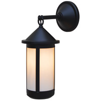 Arroyo Craftsman BB-7LWO-BK Berkeley 1 Light 18 inch Satin Black Outdoor Wall Mount in White Opalescent