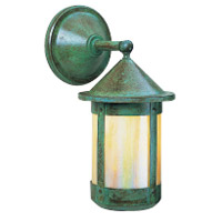 Arroyo Craftsman BB-7WGW-VP Berkeley 1 Light 7 inch Verdigris Patina Wall Mount Wall Light in Gold White Iridescent