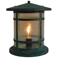 Arroyo Craftsman BC-11LCS-VP Berkeley 1 Light 13 inch Verdigris Patina Column Mount in Clear Seedy