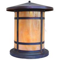 Arroyo Craftsman BC-14LGW-RC Berkeley 1 Light 16 inch Raw Copper Column Mount in Gold White Iridescent