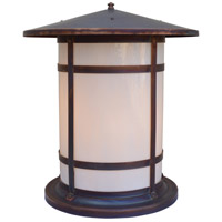 Arroyo Craftsman BC-17LWO-RC Berkeley 1 Light 19 inch Raw Copper Column Mount in White Opalescent