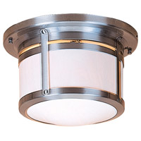 Arroyo Craftsman BCM-10WO-P Berkeley 2 Light 12 inch Pewter Flush Mount Ceiling Light in White Opalescent
