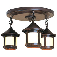 Arroyo Craftsman BCM-6S/3OF-BZ Berkeley 3 Light 16 inch Bronze Flush Mount Ceiling Light in Off White