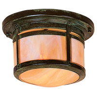 Arroyo Craftsman BCM-8GW-VP Berkeley 1 Light 10 inch Verdigris Patina Flush Mount Ceiling Light in Gold White Iridescent