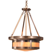 Arroyo Craftsman BCMH-20GW-AB Berkeley 4 Light 19 inch Antique Brass Pendant Ceiling Light in Gold White Iridescent