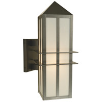 Arroyo Craftsman BEB-7WO-S Bexley 1 Light 17 inch Slate Outdoor Wall Mount in White Opalescent