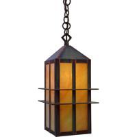 Arroyo Craftsman BEH-7AM-BK Bexley 1 Light 5 inch Satin Black Pendant Ceiling Light in Almond Mica