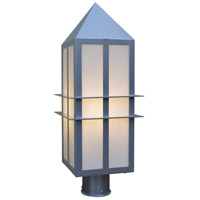 Arroyo Craftsman BEP-9WO-P Bexley 1 Light 17 inch Pewter Post Mount in White Opalescent