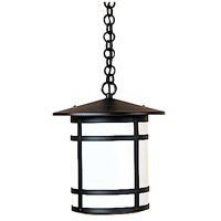 Arroyo Craftsman BH-11LWO-BK Berkeley 1 Light 11 inch Satin Black Pendant Ceiling Light in White Opalescent