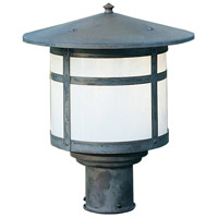 Arroyo Craftsman BP-11WO-MB Berkeley 1 Light 9 inch Mission Brown Post Mount in White Opalescent