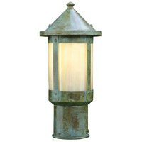 Arroyo Craftsman BP-6GW-VP Berkeley 1 Light 9 inch Verdigris Patina Post Mount in Gold White Iridescent