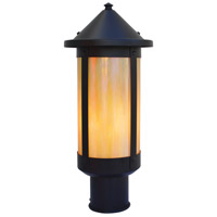 Arroyo Craftsman BP-7LGW-BK Berkeley 1 Light 14 inch Satin Black Post Mount in Gold White Iridescent