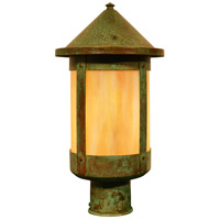 Arroyo Craftsman BP-8GW-VP Berkeley 1 Light 13 inch Verdigris Patina Post Mount in Gold White Iridescent