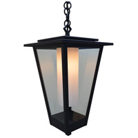 Arroyo Craftsman BRH-10CLR/WHT-BK Brighton 1 Light 10 inch Satin Black Pendant Ceiling Light in Clear with White Inner Cylinder