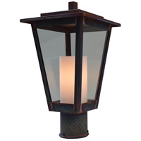 Arroyo Craftsman BRP-8CLR/WHT-RC Brighton 1 Light 12 inch Raw Copper Post Mount in Clear with White Inner Cylinder