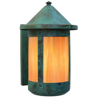 Arroyo Craftsman BS-7RGW-VP Berkeley 1 Light 11 inch Verdigris Patina Outdoor Wall Mount in Gold White Iridescent