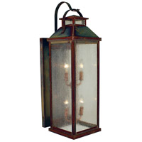 Arroyo Craftsman CAB-9CS-RC Canterbury 4 Light 30 inch Raw Copper Outdoor Wall Mount in Clear Seedy