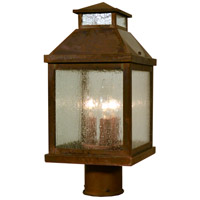 Arroyo Craftsman CAP-7CS-RC Canterbury 3 Light 12 inch Raw Copper Post Mount in Clear Seedy